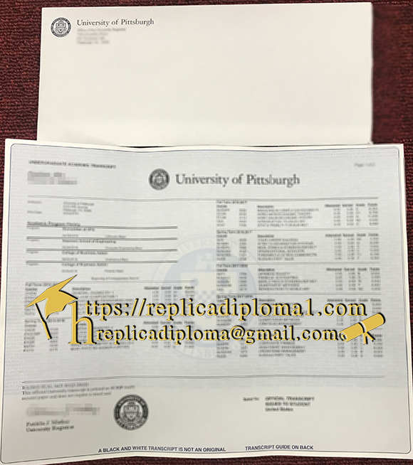 University of Pittsburgh transcript and envelope