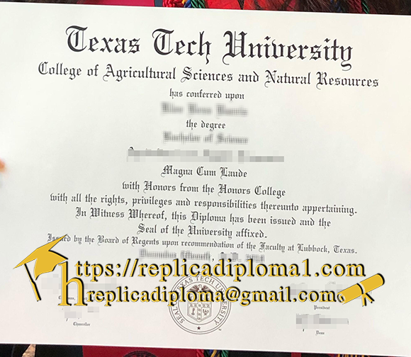 Texas Tech University degree TTU diploma