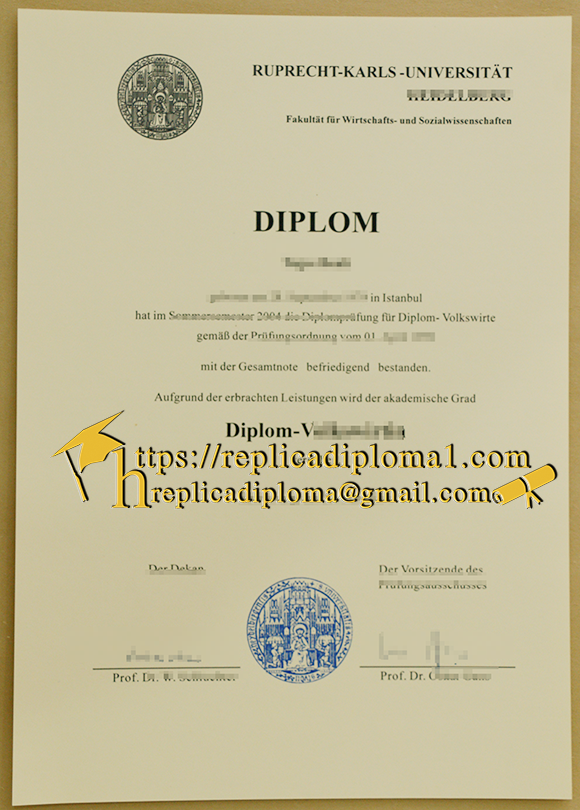 free sample of ruprecht karls university diploma from replicadiploma1.com