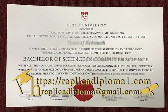 McGill University diploma sample from replicadiploma1.com