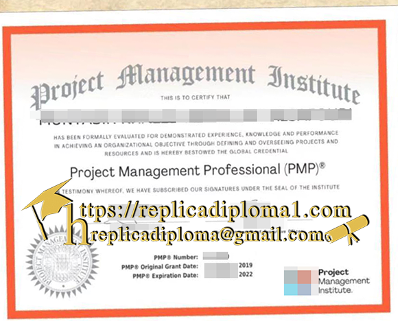 free sample of PMP cetificate from replicadiploma1.com
