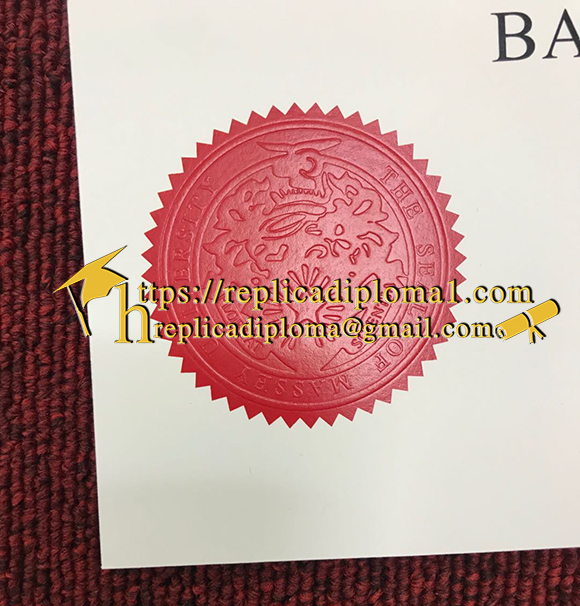 sample of official seal on Massey University diploma from replicadiploma1.com