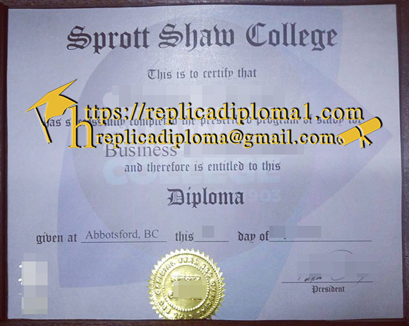 free sample of Sprott Shaw College diploma from replicadiploma1.com