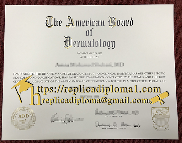 American Board of Dermatology diploma certificate