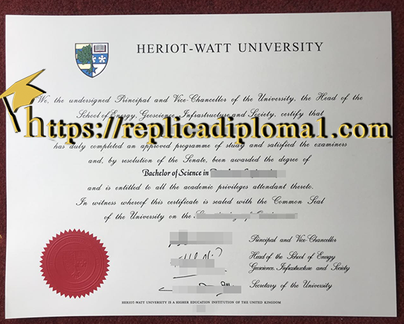 fake Heriot-Watt University diploma