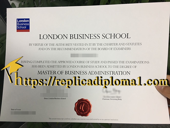 free London Business School degree sample from replicadiploma1.com